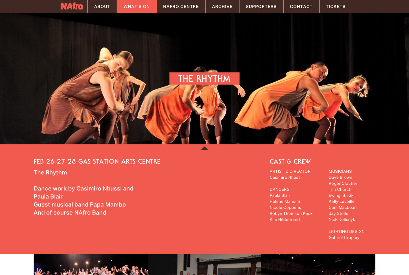 NAfro Dance events page