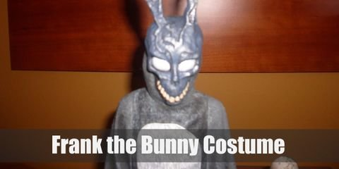 """The costume of the Frank the Bunny is as expected, a rabbit costume, but the face and mask part of the costume is quite possibly the most gruesome and weird thing you've ever seen."""
