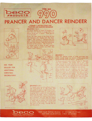 Beco Products Prancer and Dancer Reindeer #990 Instruction Manual preview