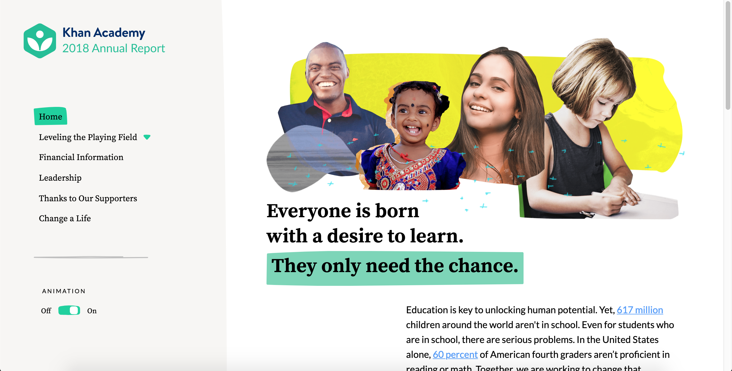 Khan Academy 2018 Annual Report Homepage