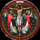 Emblemat przedstawiający Chrystusa na krzyżu i dwa anioły zbierające krew.