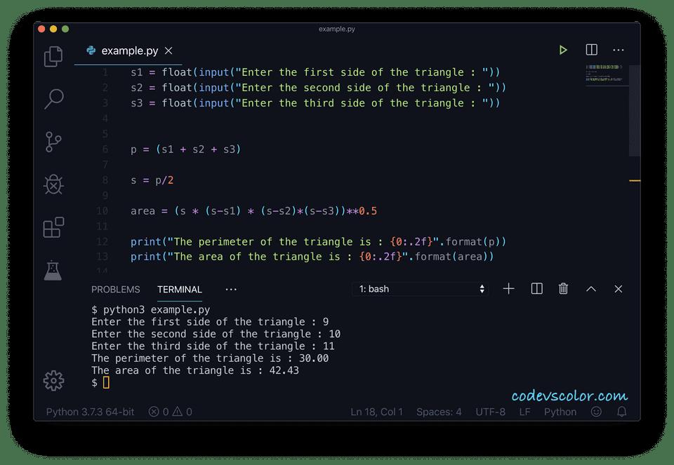 Python find perimeter area