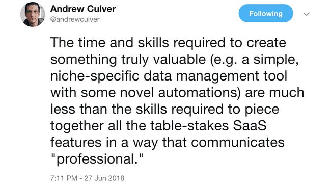 Tweet by Andrew Culver