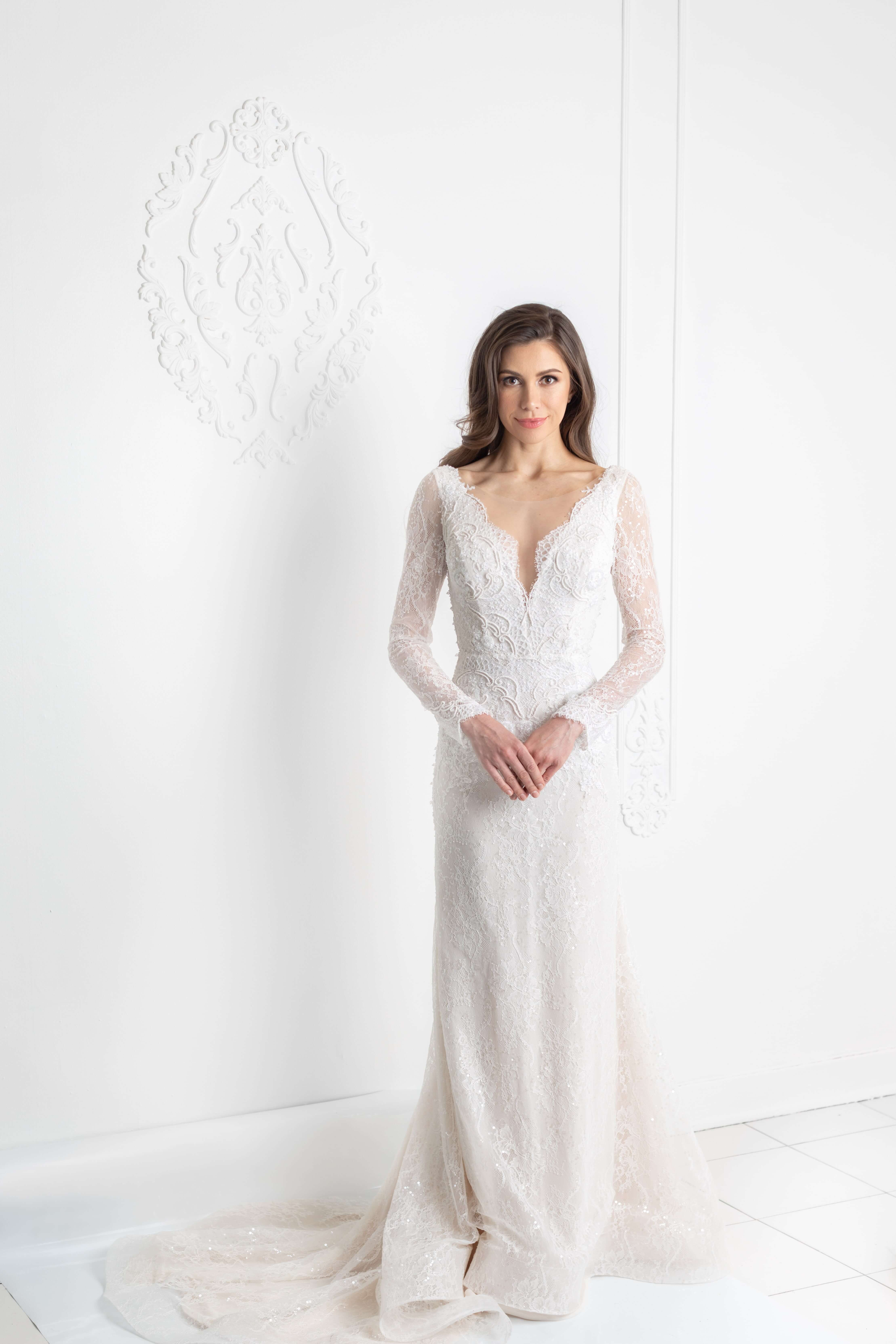 long sleeve beaded chantilly lace wedding dress montreal lilia haute couture bespoke wedding gowns
