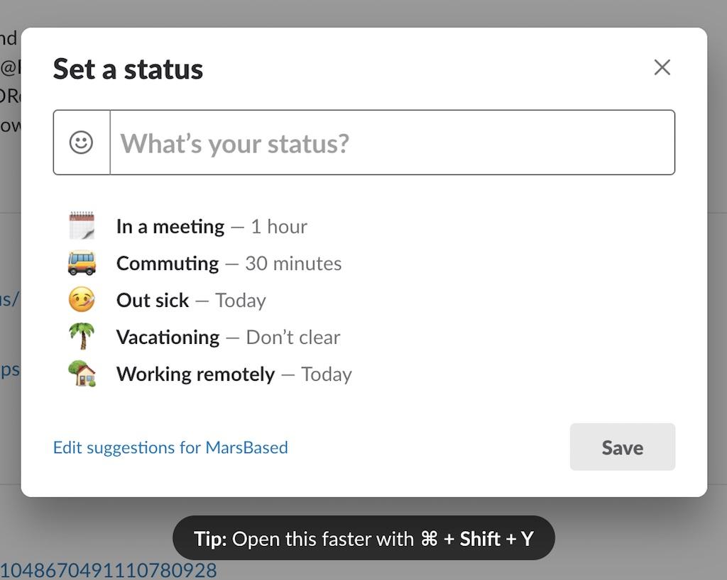 Custom status on Slack