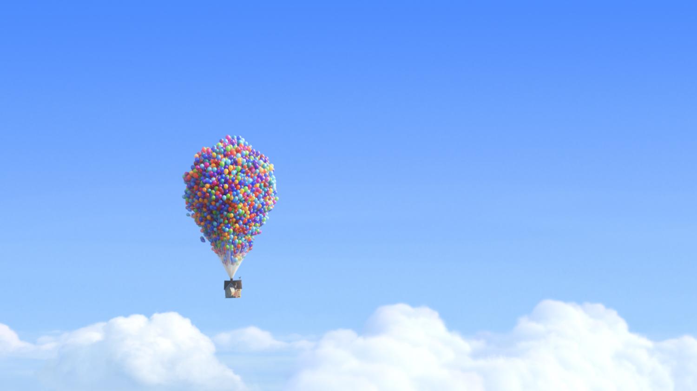 Uma casa flutua no ar com balões
