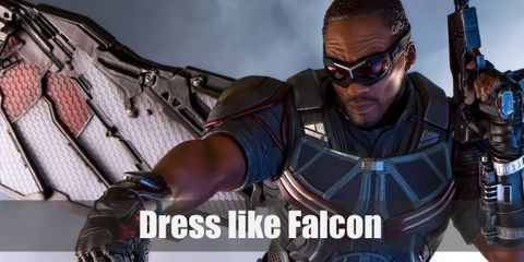 Falcon wears a black top armor, black tactical pants, black boots with knee pads and finger-less gloves, a utility belt, and a pair of red goggles.