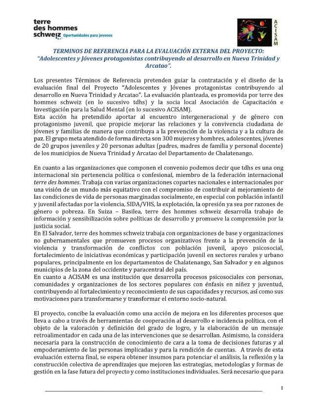 """image from TERMINOS DE REFERENCIA PARA LA EVALUACIÓN EXTERNA DEL PROYECTO: """"Adolescentes y Jóvenes protagonistas contribuyendo al desarrollo en Nueva Trinidad y Arcatao""""."""
