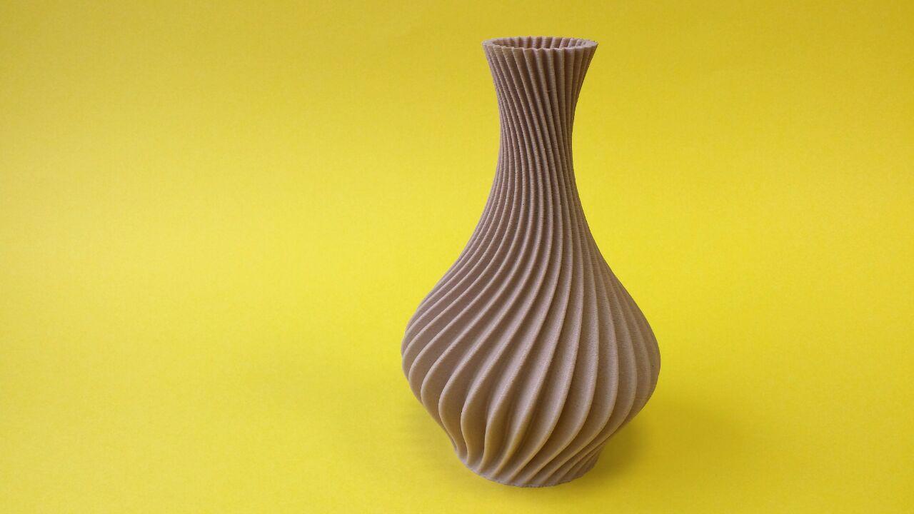 Colido 3d Printed Wood Filament Spiral Vase