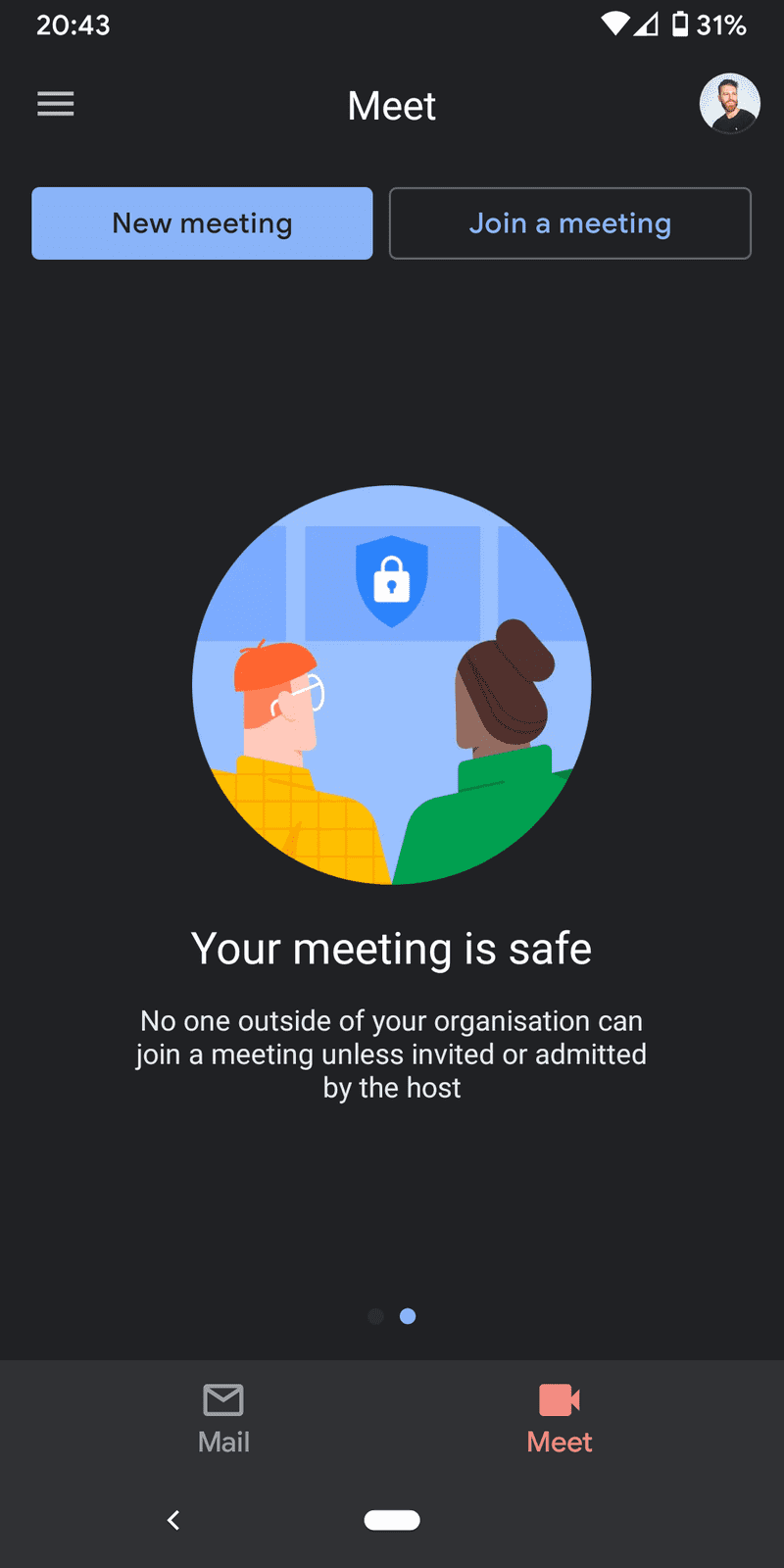 Screenshot of Your meeting is safe in Gmail for Android