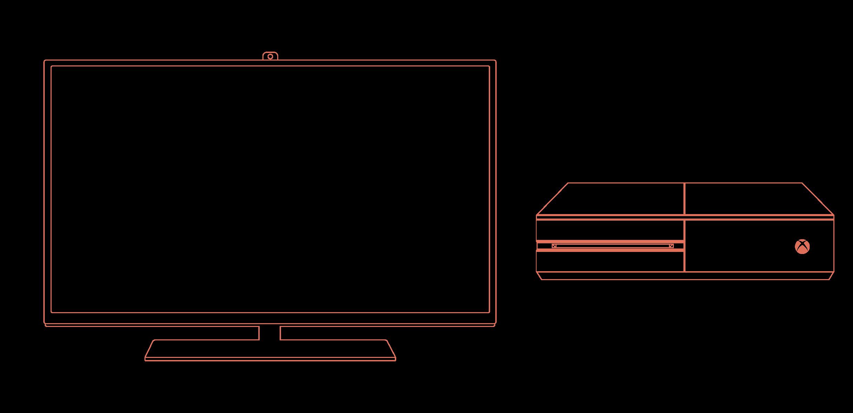 A line diagram depicting common games consoles