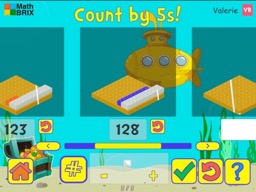 Stairsteps: Complete the pattern by adding or subtracting by 5's, within 1000 Math Game