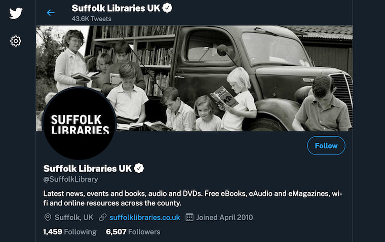 The Suffolk Libraries Twitter page.