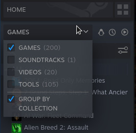 A screenshot of the Steam client, showing that I have bought 200 games