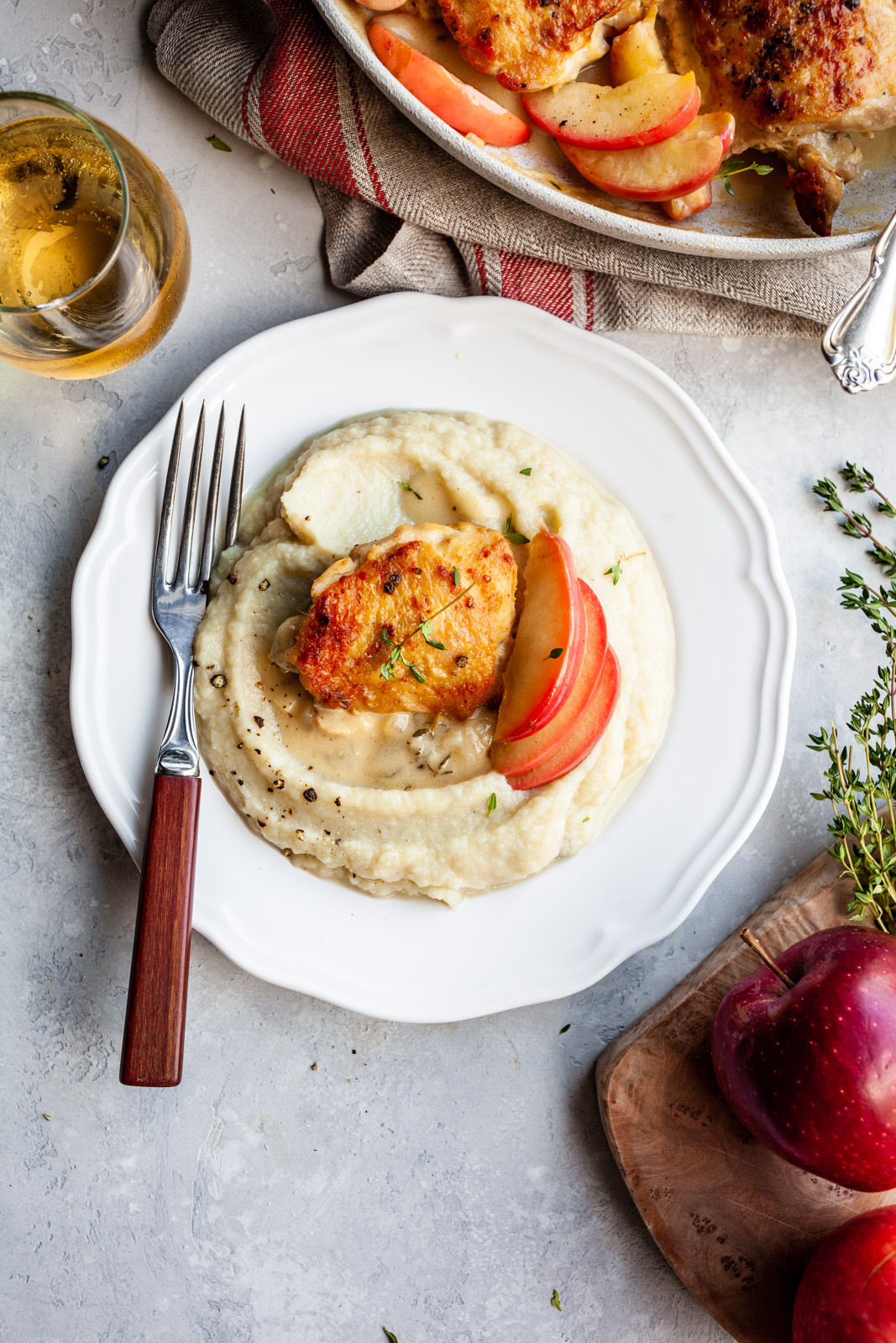 Cider Braised Chicken Thighs With The Creamiest Cauliflower Mash