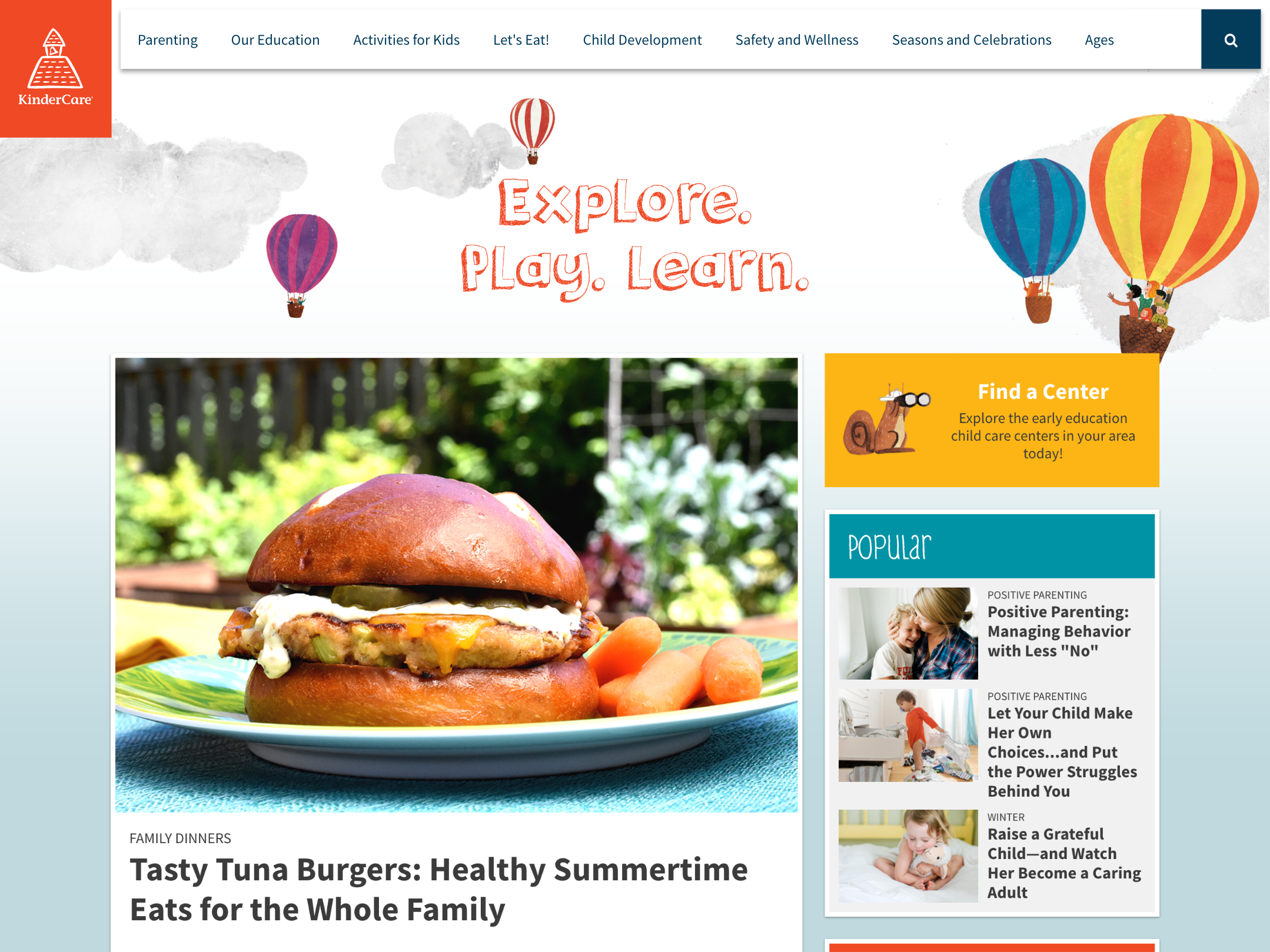 KinderCare - Content Hub home page