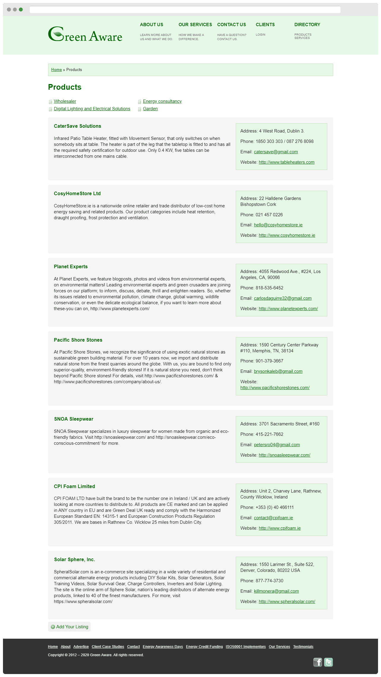 Green Aware Directory Page