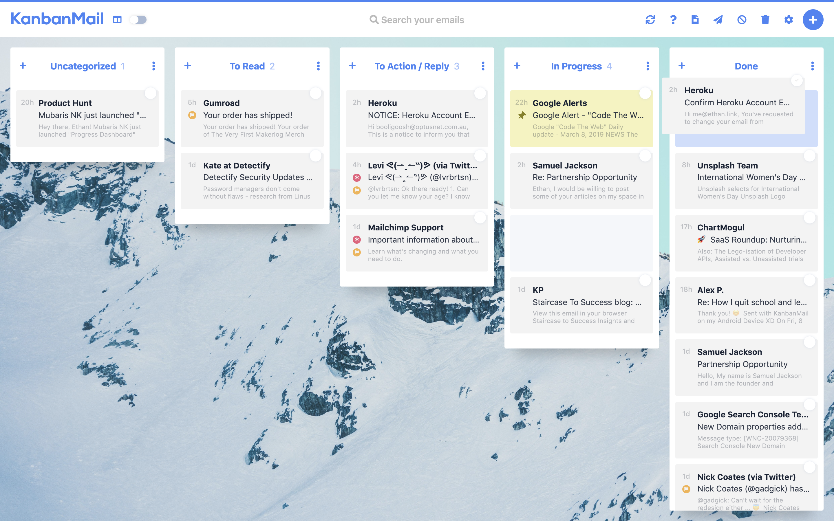 KanbanMail — A Kanban Board for your emails