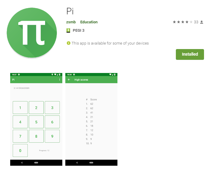 The Pi app in the Play Store