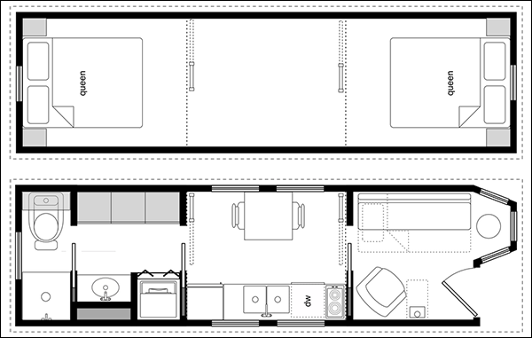 An example floor plan from CAD Pro showing two queen size beds upstairs, along with a living area downstairs which could - optionally - contain a pull out couch.