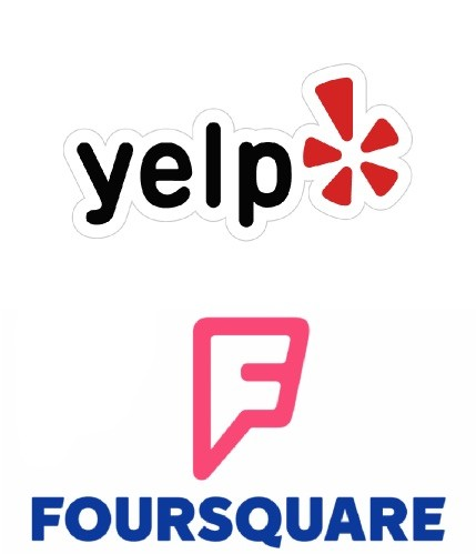 Logotipo de Foursquare y Yelp