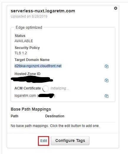 the custom domain entry is pending