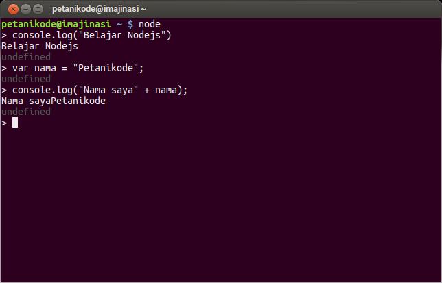 Console Javascript di Nodejs