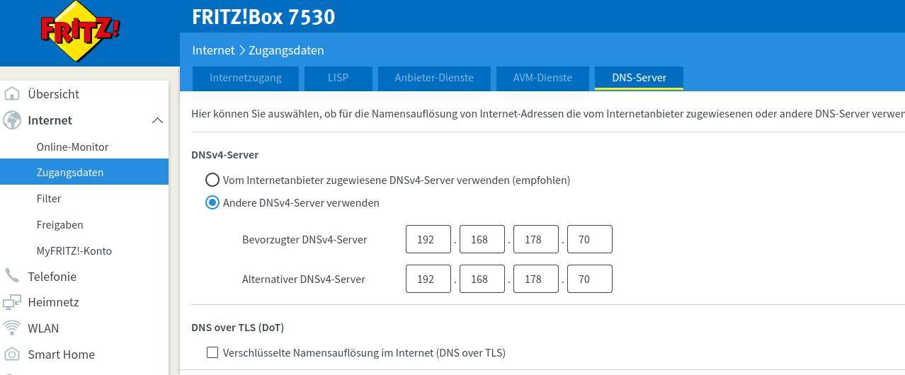 Screenshot der Fritz!Box WAN DNS Konfiguration