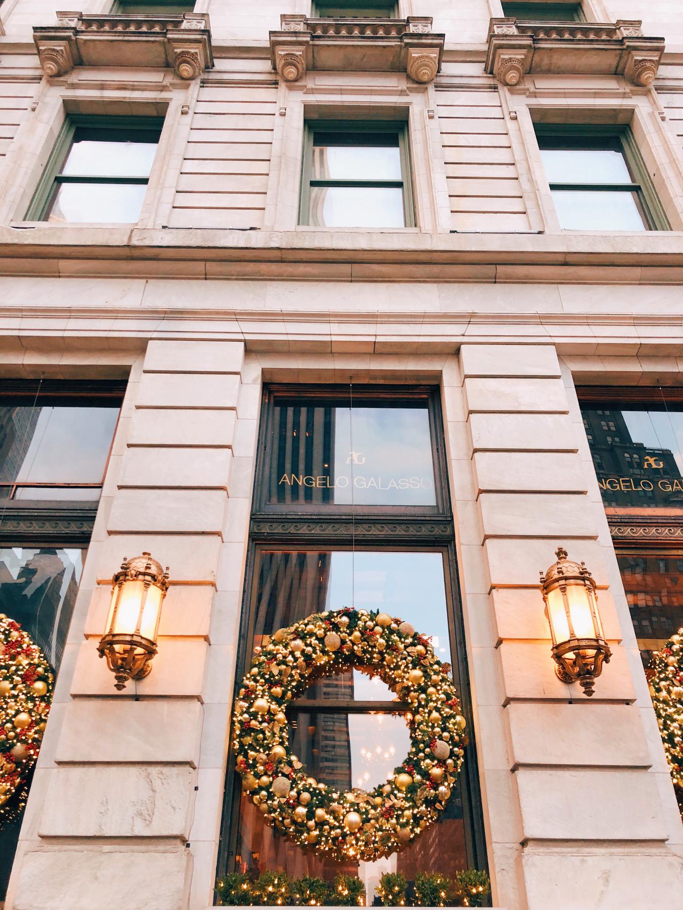 Giant Christmas wreaths on the Plaza Hotel