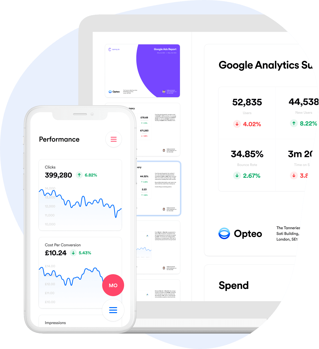 Opteo app screenshot of the reports dashboard