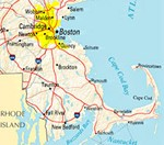 A map of Massachusetts showing MDH Construction's service area from Boston, MA to Plymouth, MA.