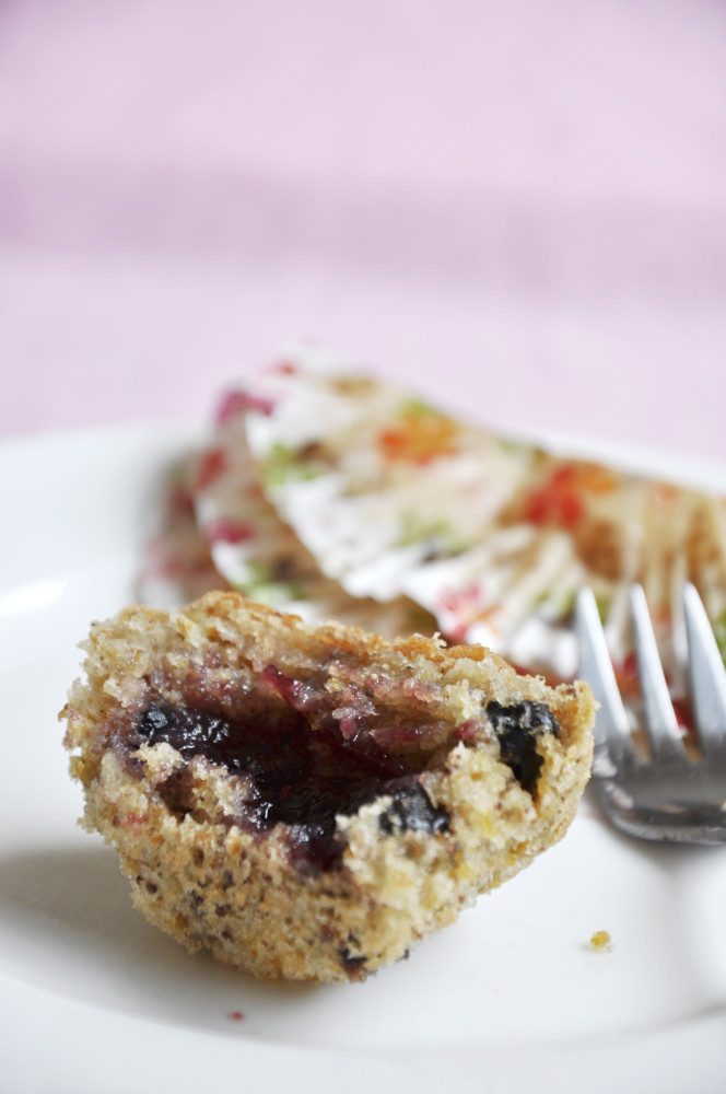 Blueberry and Berry Jam Muffin