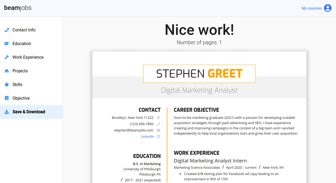 Screenshot of resume builder in action
