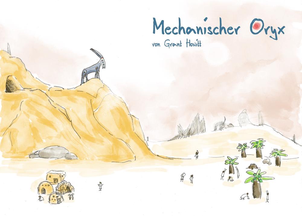 Coverillustration des Spiels mit einem Robotergeißbock auf einem Berghang, der ein Menschendorf überblickt