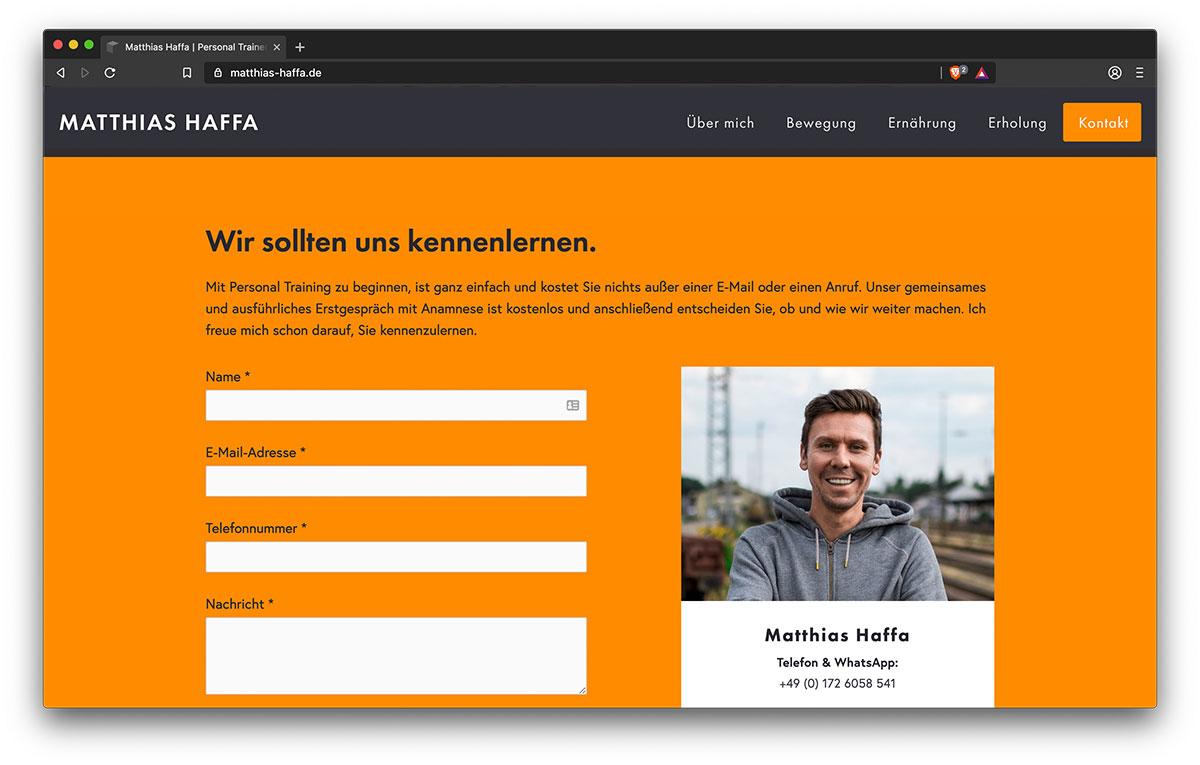 Webseite Matthias Haffa (Kontakt) - Webdesign Freiburg KreativBomber