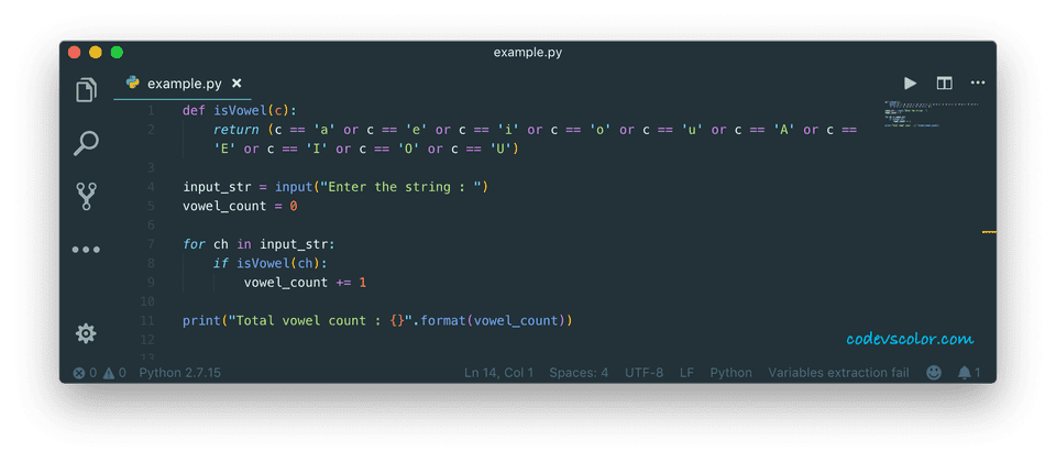 python calculate total vowel in string