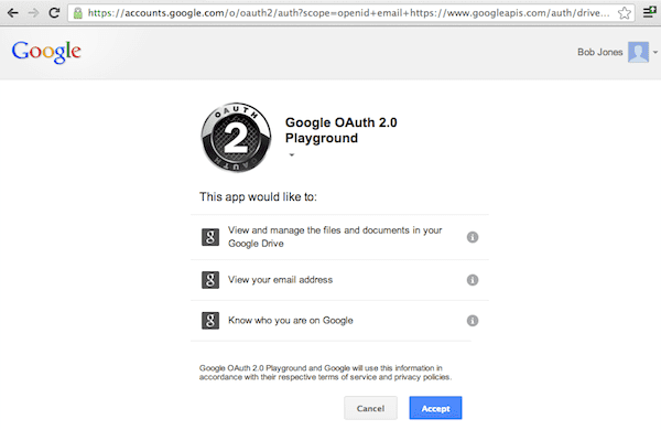 Google OAuth 2.0 Consent Screen