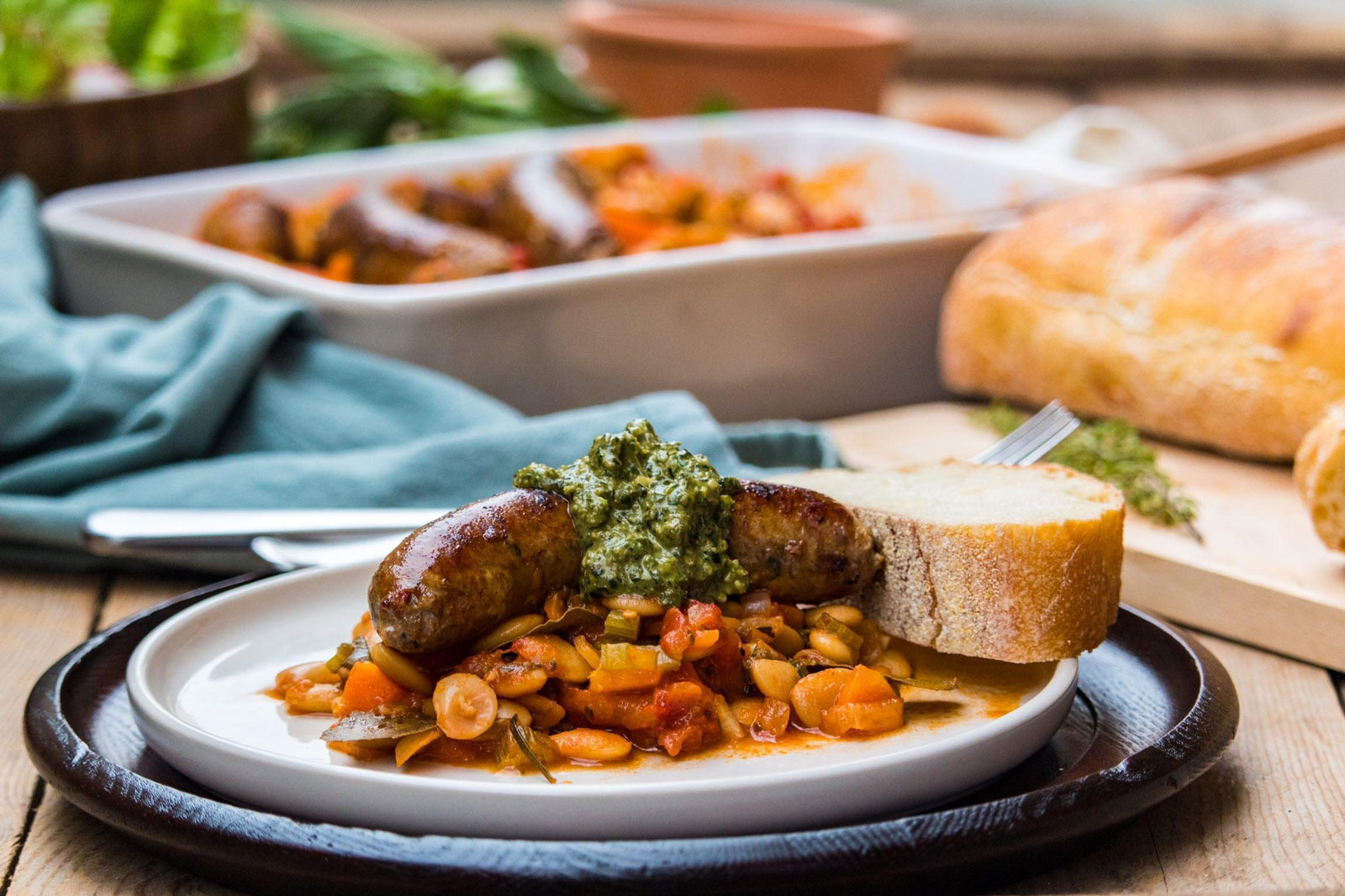White Bean Cassoulet and Sausage with Pistou
