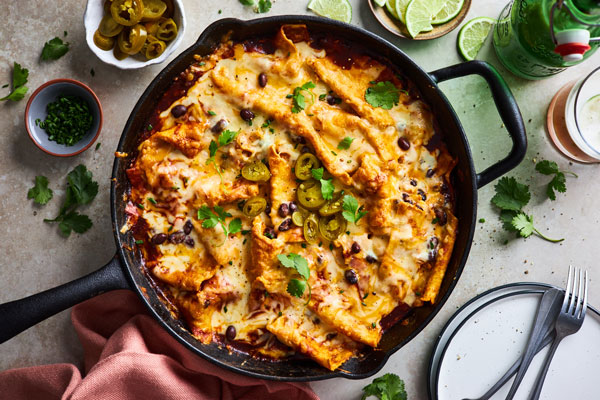 Easy One Pan Cheesy Enchiladas