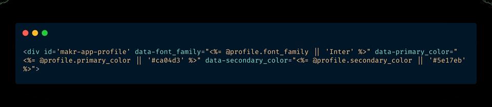 Data attributes set on profile