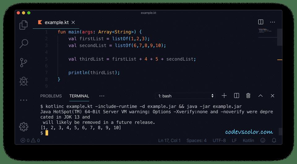 Kotlin plus operator example