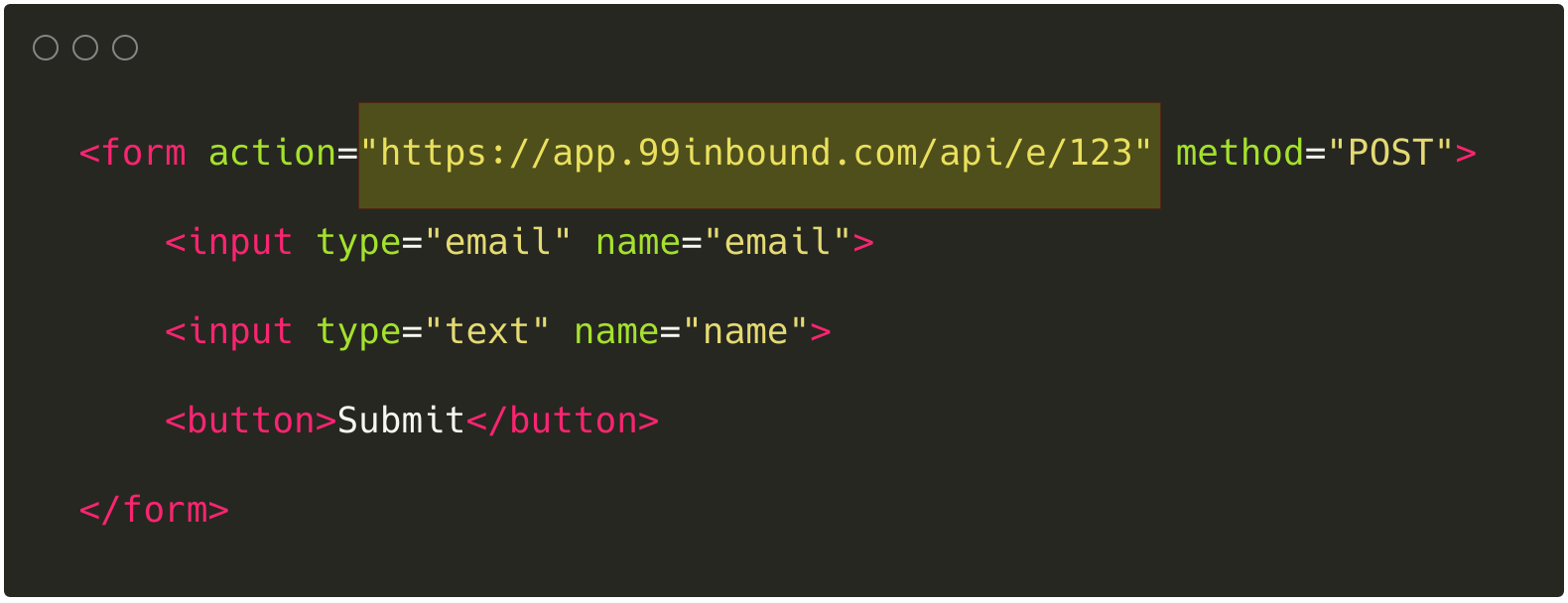 Form Endpoint API embed code