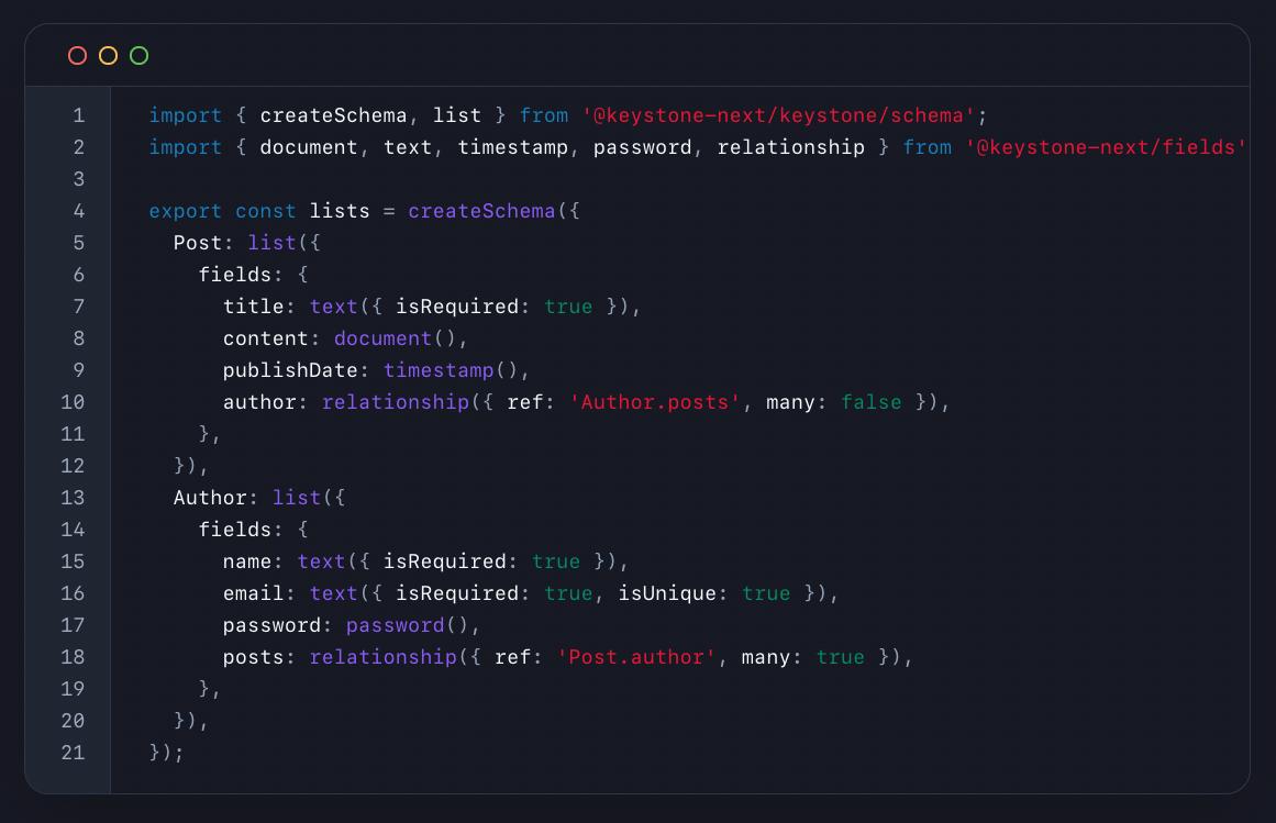 Code example of Keystone configuration schema