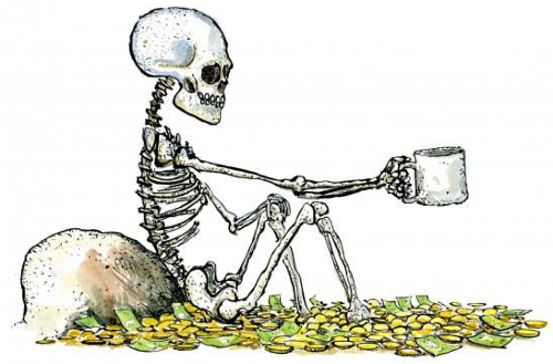 Skeleton with Money Sketch
