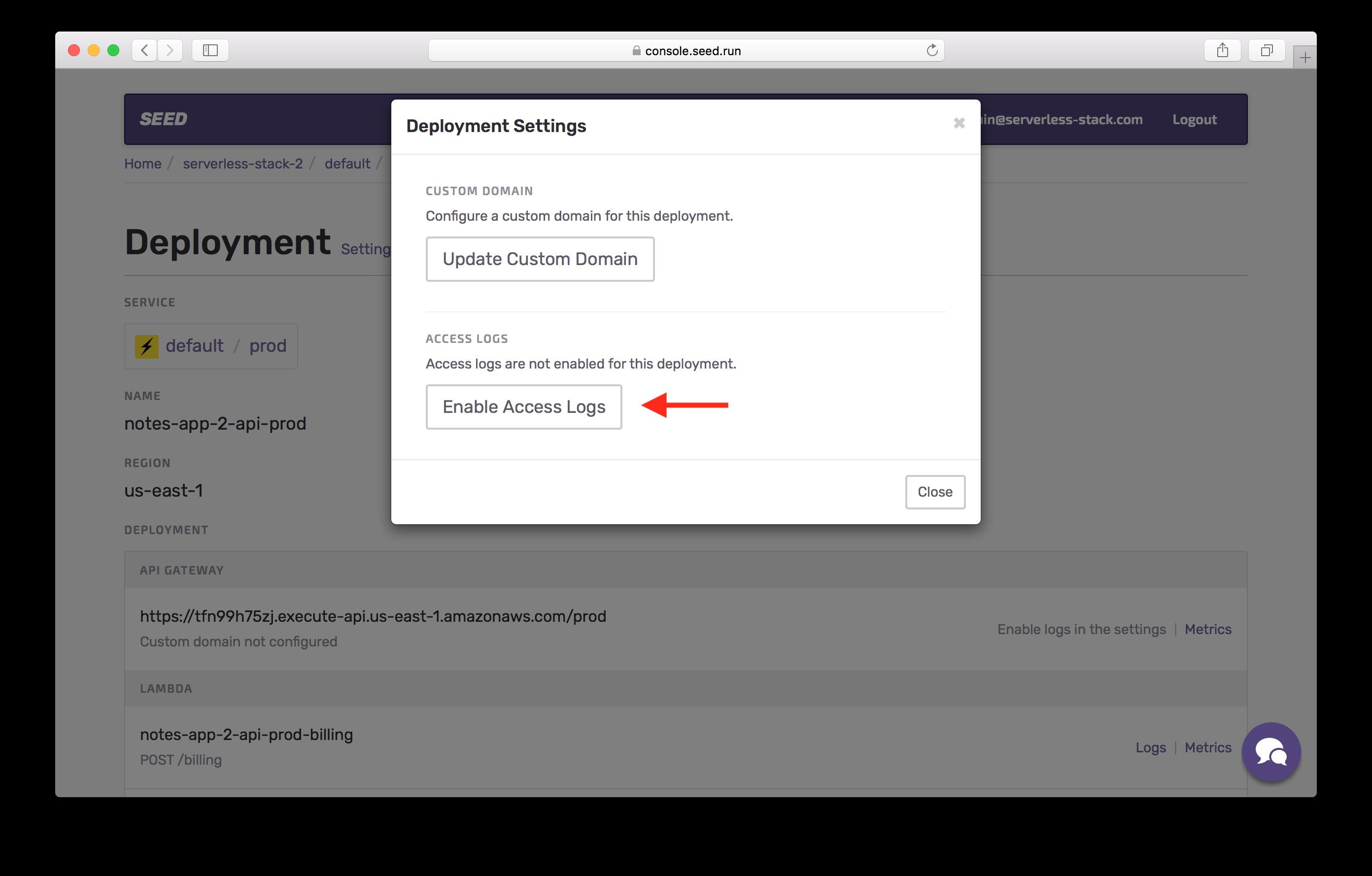 Enable access logs in prod screenshot