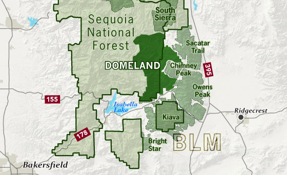 area map of Domeland Wilderness