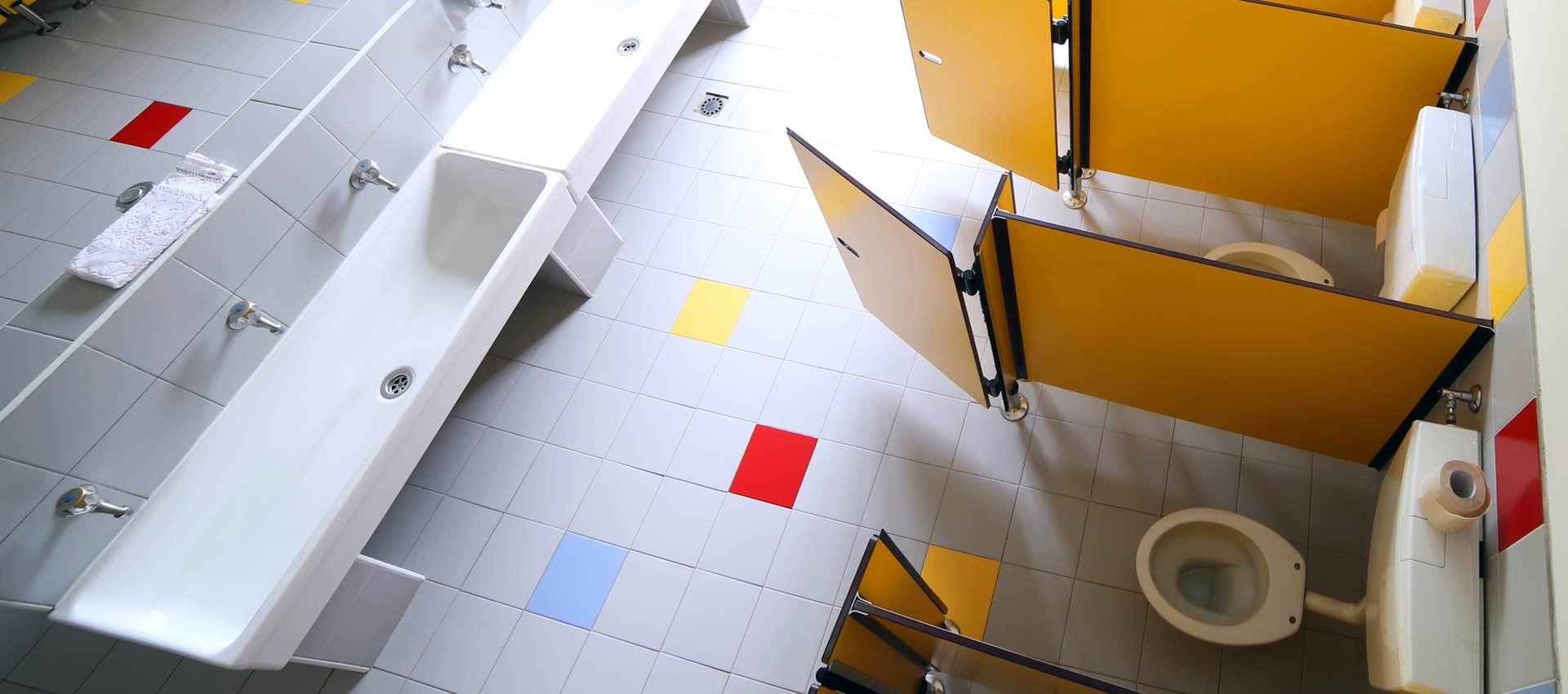 Clean school bathroom