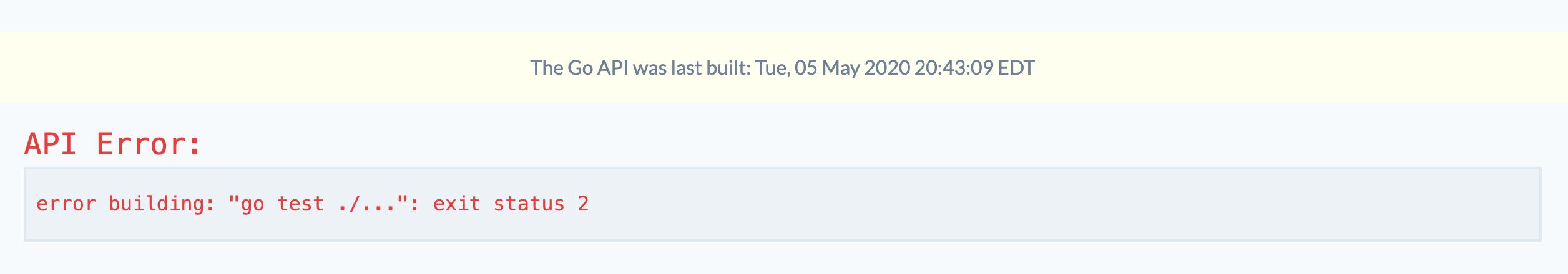 Screenshot of the error rendering in the React UI.