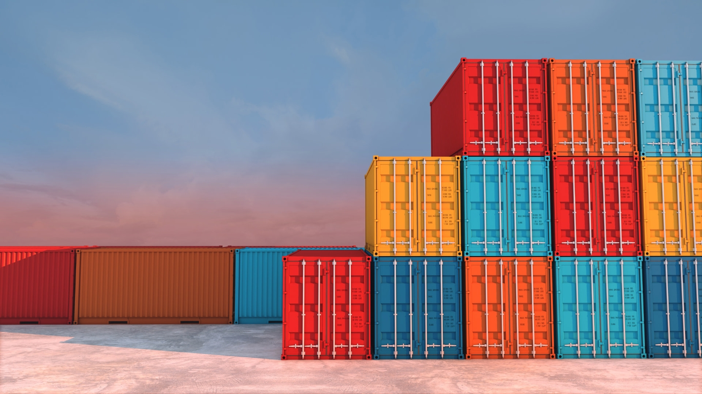 different colors of Intermodal container