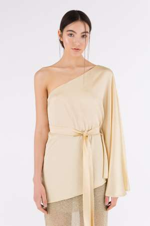 One Shoulder Silk Top, Gold